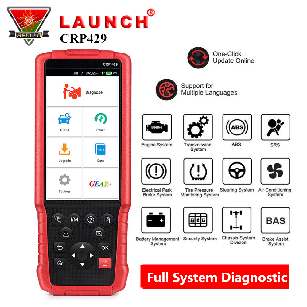 US $362 61 21% OFF LAUNCH X431 CRP429 OBD2 Code Reader Auto Car Scanner  Full System Diagnostic Tool with 8 Reset Function pk CRP429C Autel MK808-in