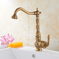 Newly Free Shipping Wholesale And Retail Deck Mounted Vintage Antique Brass Bathroom Sink Basin Faucet Mixer