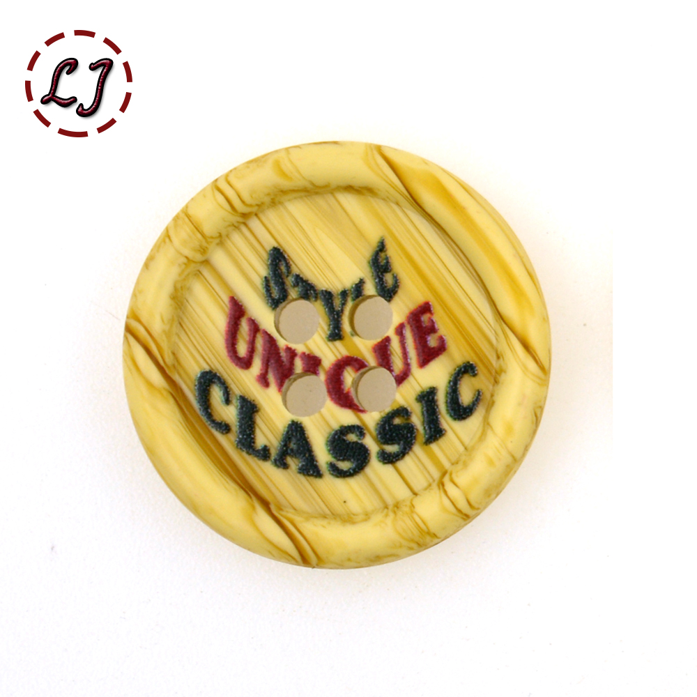 New style classic painted letter Imitation wood grain resin button plastic cloth sewing button for garment shirt overcoat DIY