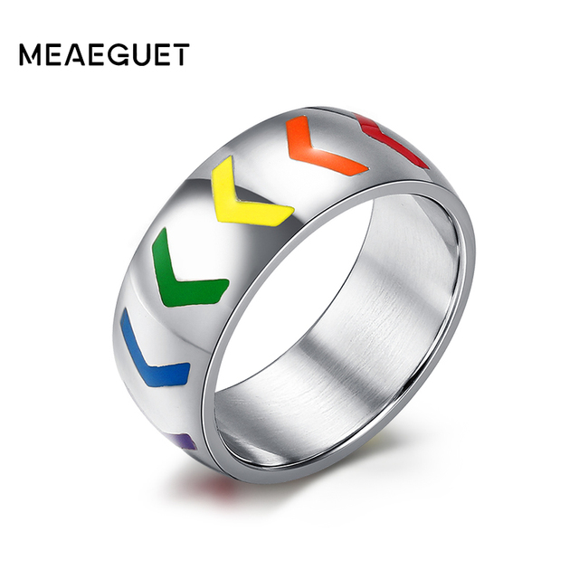 meaeguet cool spikes rainbow color stainless steel gay pride rings for women men wedding rings party - Gay Mens Wedding Rings