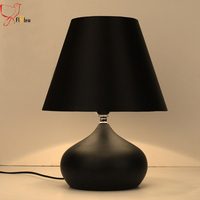 Modern simple iron table lamp,black/red/white cloth lampshade creative table light for bedroom living/study room deco desk lamp