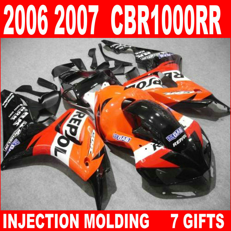 New hot moto parts fairing kit for Honda CBR1000RR 06 07 orange black injection mold fairings set CBR1000RR 2006 2007 RA15 injection mold fairing for honda cbr1000rr cbr 1000 rr 2006 2007 cbr 1000rr 06 07 motorcycle fairings kit bodywork black paint