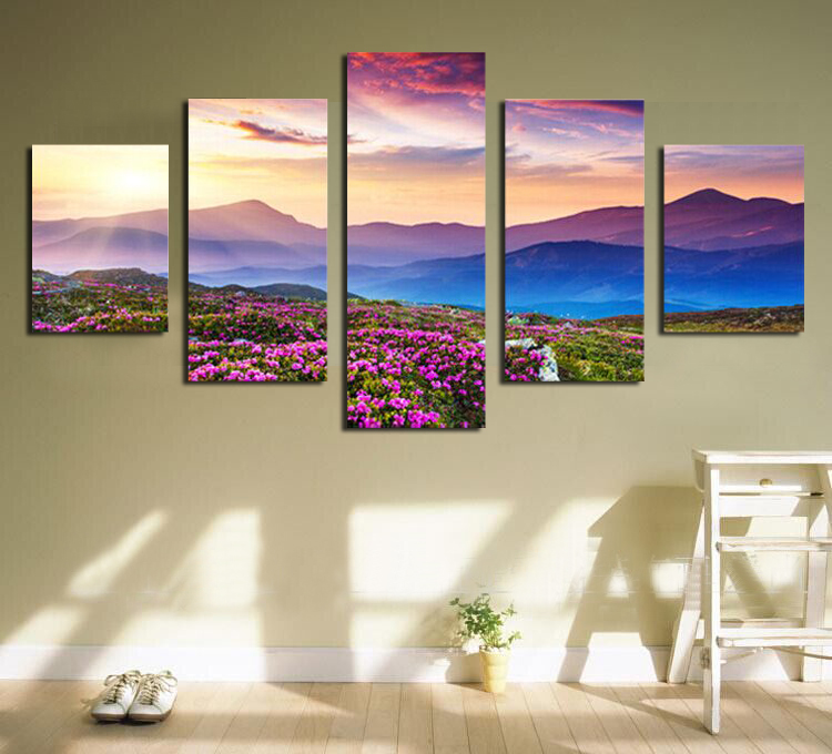 Stampa su tela su tela Paesaggio montano viola Stampe su tela Pittura - Home decor