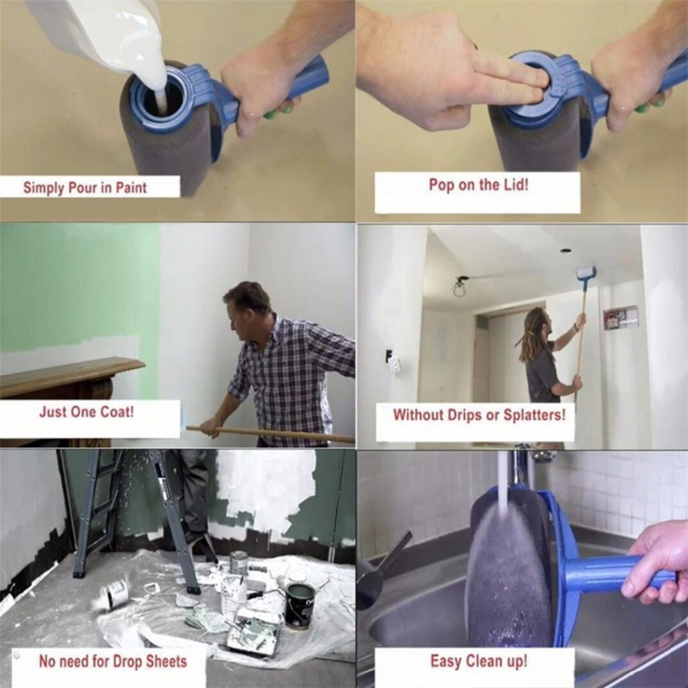 Купить с кэшбэком NEW Paint Runner Pro Roller Brush Handle Tool Flocked Edger Office Room Wall Painting Home Garden Tool Roller Paint Brush Set