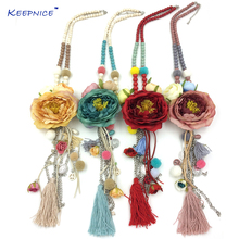 New Big Drop Rose Flower Pendants Necklaces Beaded Chain Retro Necklace With Long Fringe Tassel