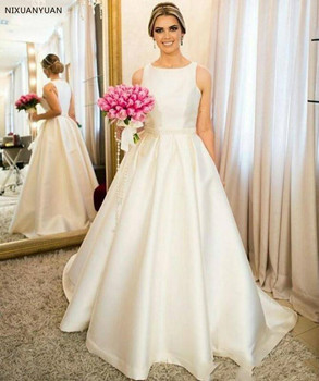 Vestido De Novia Simple Satin A-Line Wedding Dresses Sleeveless Floor Length Bridal Gowns Country Wedding Dresses Pearls