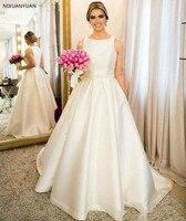 Vestido De Novia Simple Satin A Line Wedding Dresses Sleeveless Floor Length Bridal Gowns Country Wedding Dresses Pearls