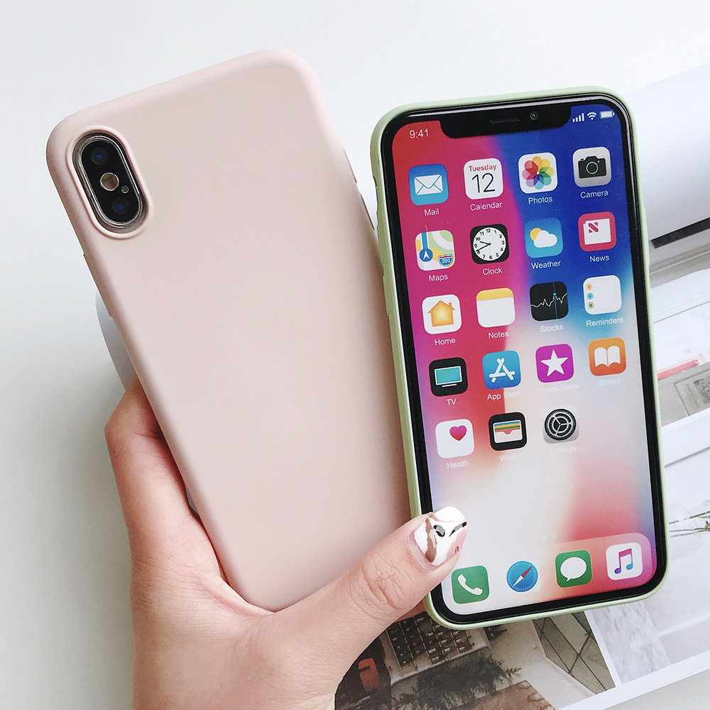 KIPX1124_2_JONSNOW Pure Color Silicone Case for iPhone XS XR XS Max 6 6S 6P 7 8 Plus Ultra-thin Matte Dirt-resistant Soft TPU Solid Cover