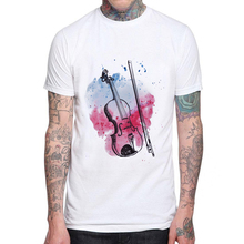 Top Quality Cotton Men T Shirt Casual Short Sleeve Illustration Violin Print Mens T-shirt Fashion Cool T Shirts For Man Tops Tee
