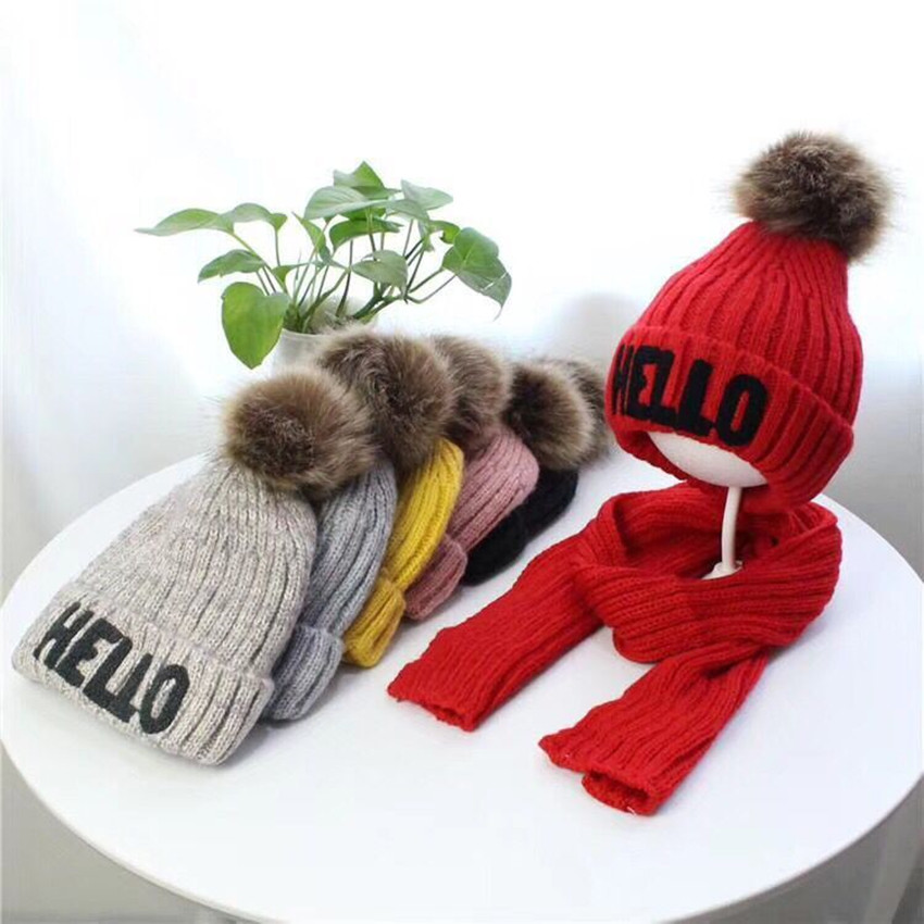 Yyun Girls HELLO Letters Beanie And Scarf Set Kids Warm Fleece Cable Knit Scarf Boys Pom Pom Hat Scarf 2 Pieces