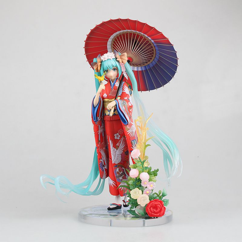 EMS Shipping 6pcs 8 Anime Volcaloid Hatsune Miku Kimono Ver. Boxed 20cm PVC Action Figure Collection Model Doll Toy Gift new original 8 inch lcd screen at080tn03 v 1 can be equipped with touch screen 8 inch screen car dvd