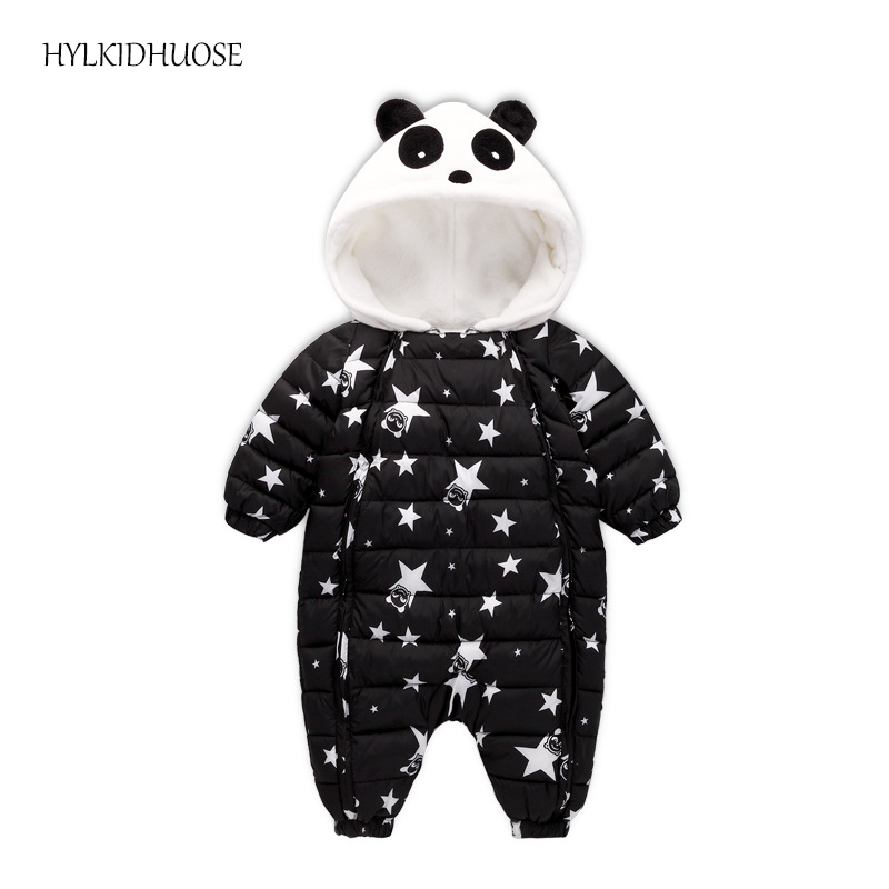 HYLKIDHUOSE 2017 Winter Infant/Newborn Rompers Baby Girls Boys Warm Thick Jumpsuits Star Children Kids Hooded One Piece Clothes new 2016 autumn winter kids jumpsuits newborn baby clothes infant hooded cotton rompers baby boys striped monkey coveralls