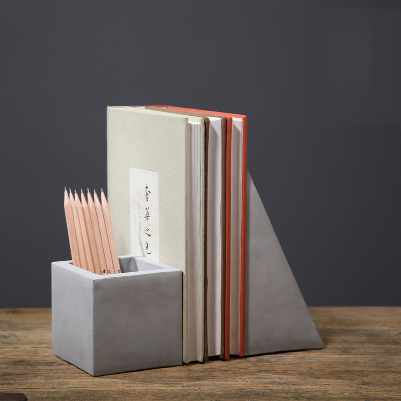 Concrete Cement Pen Holder Bookshelf Silicone Die Desk Pen Holder Die
