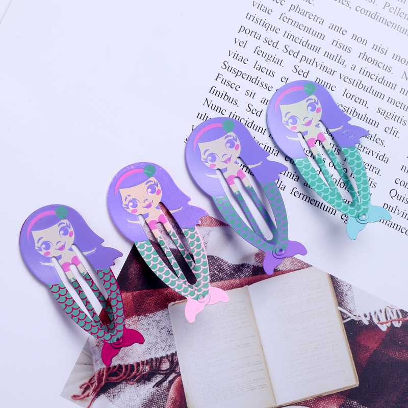 8pcs Cartoon Mermaid Hair Clip Snap Hairpin for Girls Children Cute Bobby Pins Baby Painted Metal Barrettes Hair Clamp   Headwear