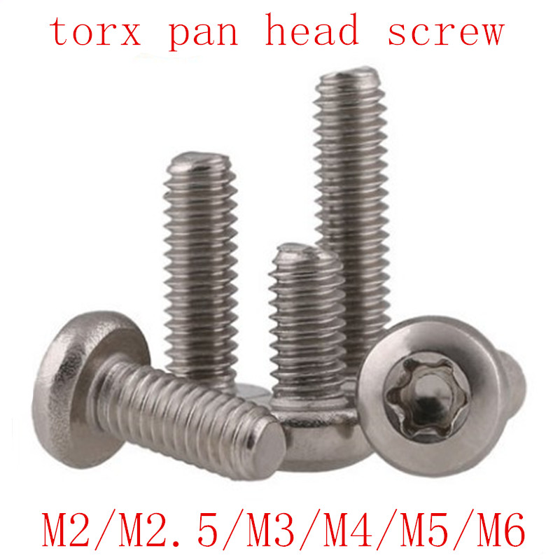 Torx pan round head screw GB2672 SUS304 M2 M2.5 M3 M4 M5 M6  six lobe 304 stainless steel pan head torx machine security screw