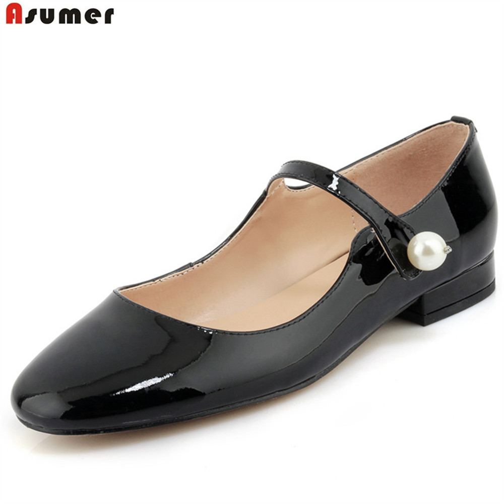 ASUMER black apricot casual spring autumn single shoes square heel buckle elegant women genuine leather low