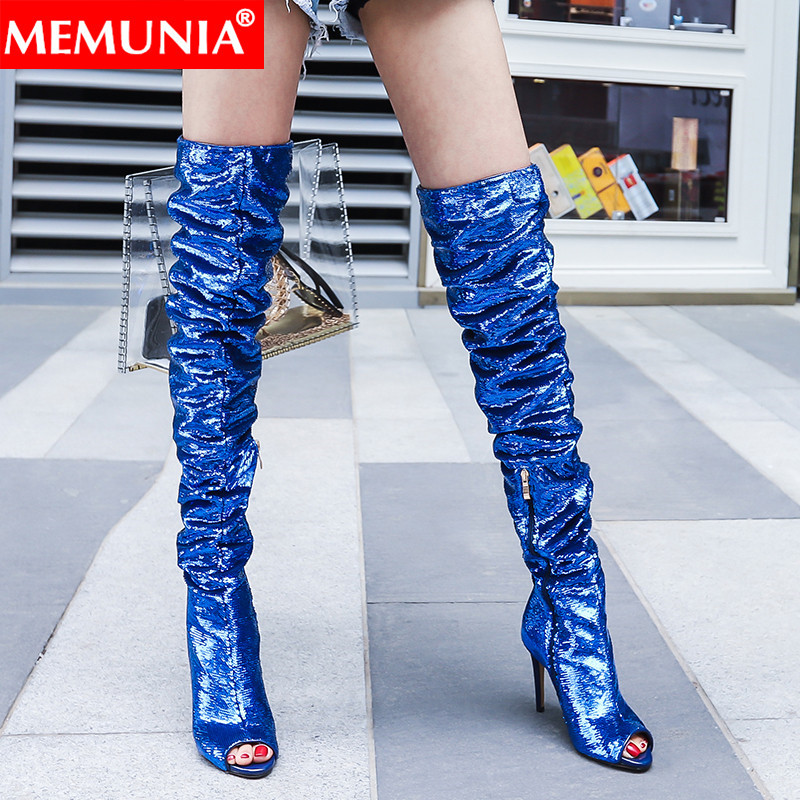 MEMUNIA big size 34 41 new over the knee boots women peep toe zip super high thin heels shoes bling women boots