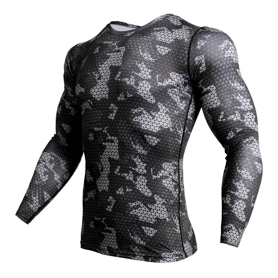 Camisa de compressão Homens Camuflagem Apertado de Manga Longa Camiseta  Homens Aptidão 3D Secagem rápida Roupas MMA Rashguard Academias T-Shirt Camo c09c6bc6cb521