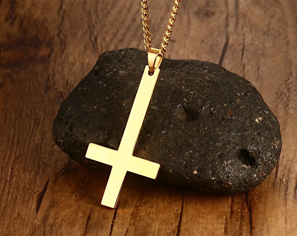 Invert color jpg online - 55 30mm Gold Silver Black Can Be Chosen Inverted Cross Pendant Necklace For Men Stainless