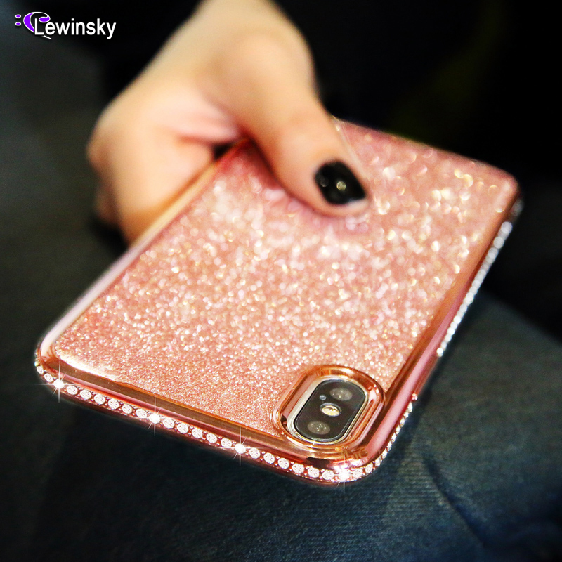Rhinestone Glitter <font><b>Case</b></font> for Samsung Galaxy S7 edge <font><b>S8</b></font> S9 plus Note 8 9 Soft Silicone TPU Diamond <font><b>Sexy</b></font> Girl Protector Back Cover image