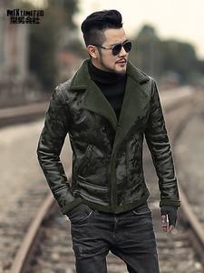 Image 5 - ผู้ชายสีดำฤดูหนาวอุ่น lamb ขนสัตว์ casual ชายเสื้อขนสัตว์ plush faux เสื้อแจ็คเก็ตหนังยุโรปสไตล์ F7146