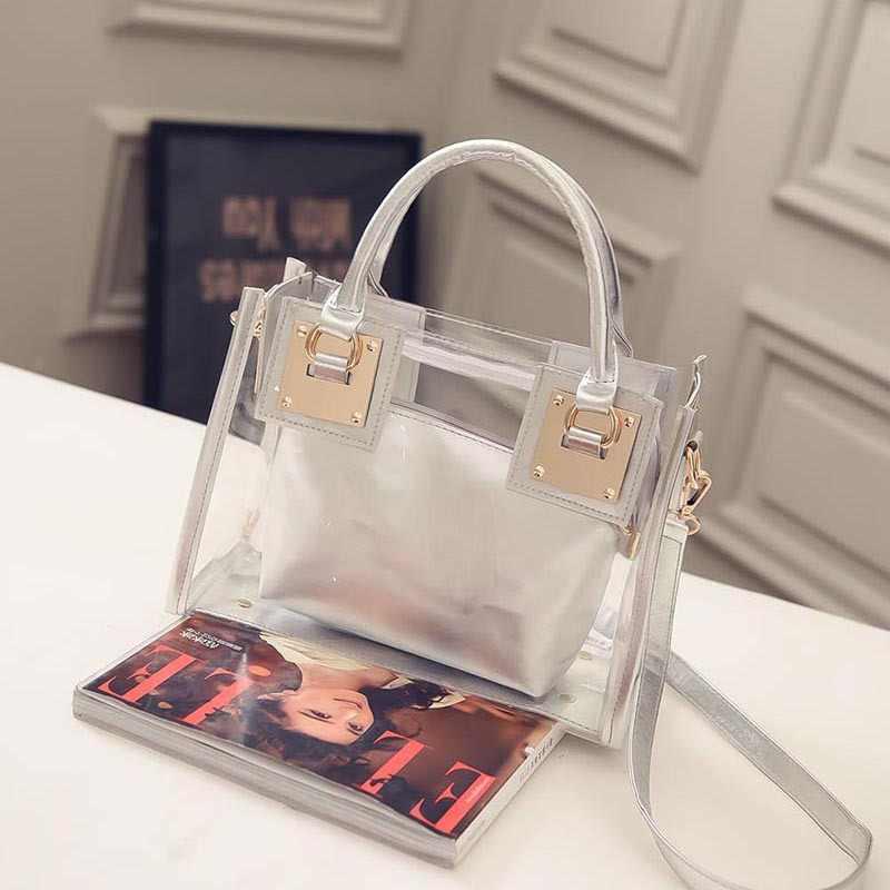 Прозрачная ПВХ пляжная сумка 2017 горячее специальное предложение Популярные композитные сумки Модные прозрачные кошельки сумки Bolsas de Praia Femininas