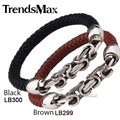 Trendsmax Black Brown Leather Bracelet Braided Rope Wristband w Stainless Steel Byzantine Link Mens Boys Promotion Gift LBM27