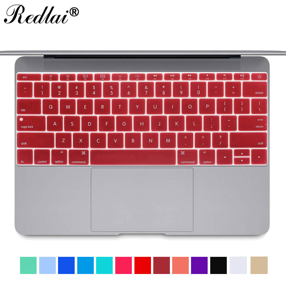 Redlai Silicone US English Keyboard <font><b>Cover</b></font> Film For <font><b>Mac</b></font> 2016 Pro 13 with Retina <font><b>A1708</b></font> Keyboard Skin For Macbook 12