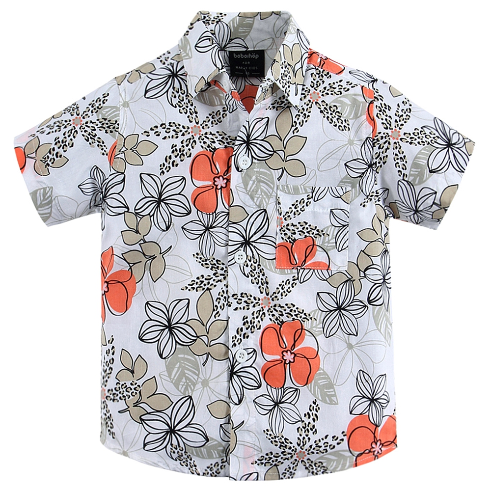 cotton 100% floral shirt hawaiian shirt aloha shirt for boy T1533 shirt malagrida shirt
