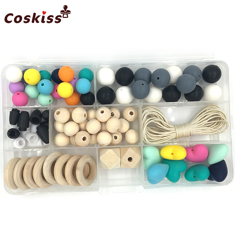 Baby Teether Toys Dark Colors Silicone Teething Kit Geometric Hexagon Silicone Wooden Rings Teething Beads DIY Nursing Necklace