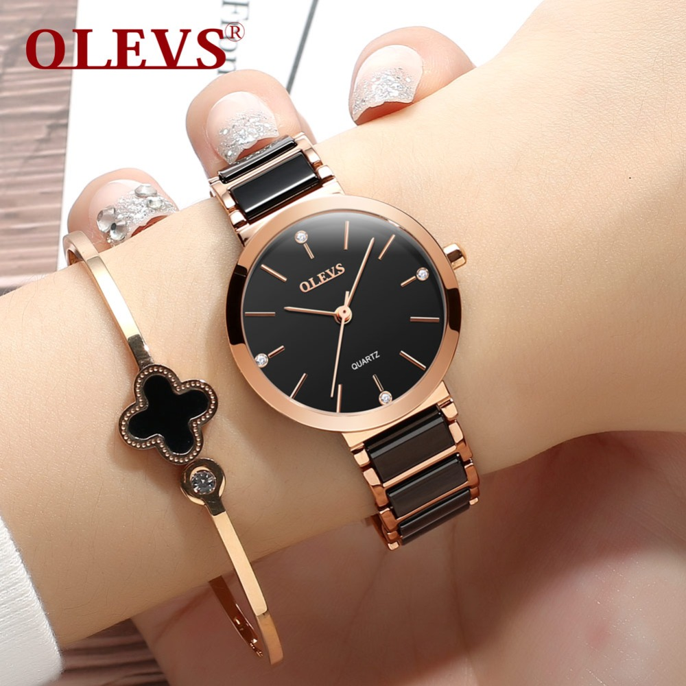 OLEVS 2018 Women Watches luxury Fashion Quartz Minimalist style Waterproof Montre Femme Black Ceramics clock Relogio Masculino