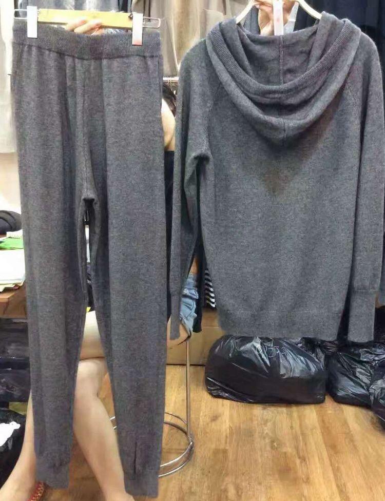 Chandail En Long 2018 Femmes Tricot Printemps Pcs Plein gris Tricoté Pantalon Capuchon Mis Nouveau Cachemire Survêtements À Laine De Étoile Promotion 2 Kaki qrwOxPqTA