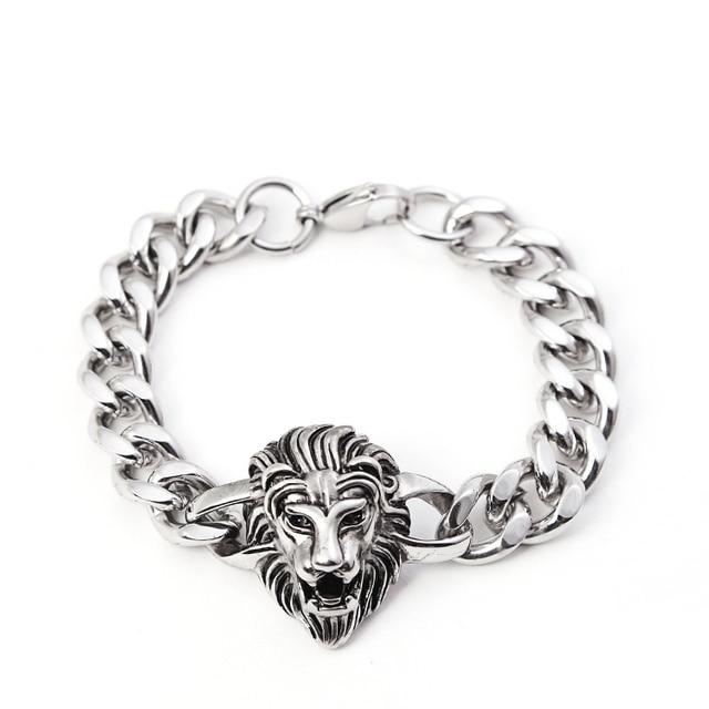 89e4306899d0 Nunca se desvanecen 316 Acero inoxidable hombres pulsera hombre pulsera del  encanto del León para hombre