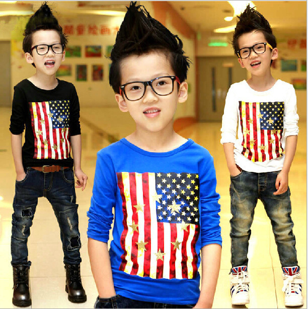 On Sale 30%off 2016 Autumn Children Clothes  O-Neck Cotton Flag Printing Full Sleeve Boys T-shirt Shirts Tees Tops  A007