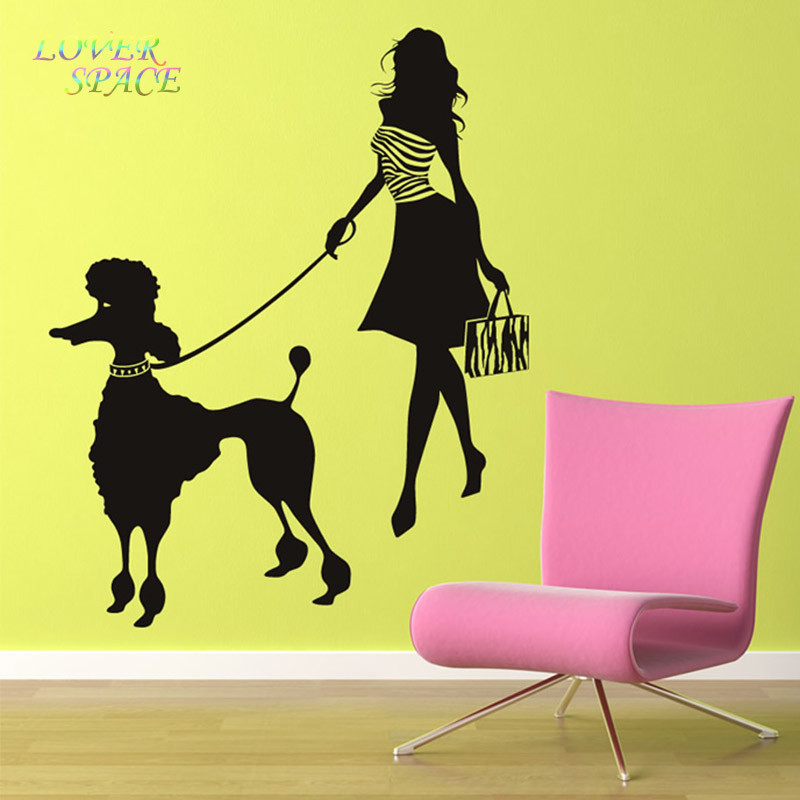 Fashion Lady Custom Made Colour Modern Girl And Poodle Wall Sticker ...