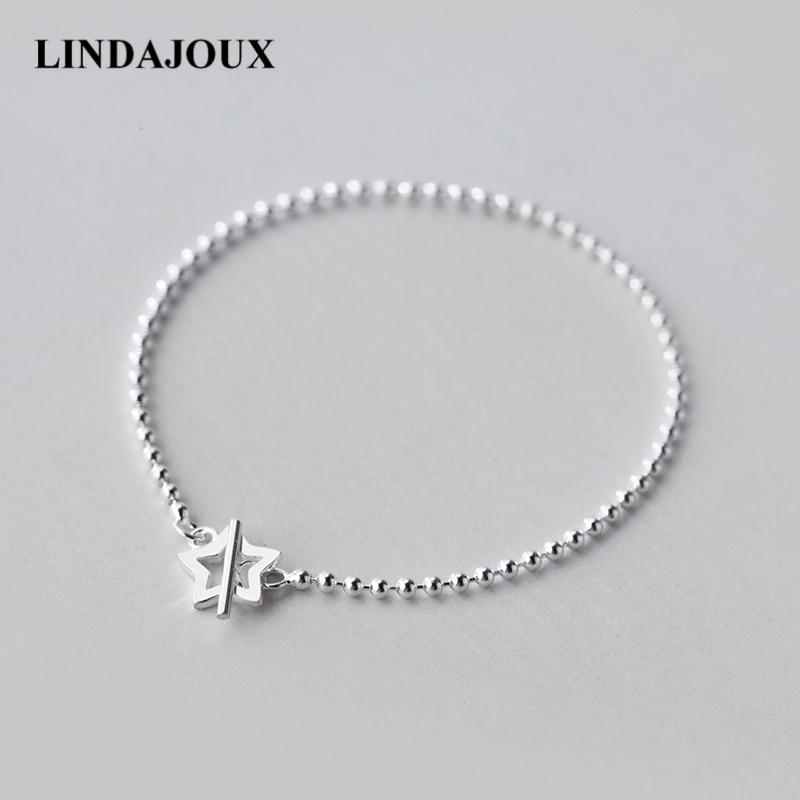 LINDAJOUX Romantic Beaded Chain Hollow Star Charm 925 Sterling Silver Bracelet For Women