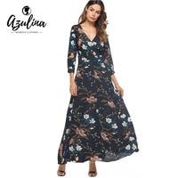 AZULINA Dresses Women 2017 Floral Print 3 4 Length Sleeves Surplice Wrap Dress Autumn Maxi Dress