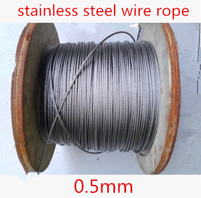 100meter/lot 0.5mm  Roll High Tensile Stainless Steel Wire Rope 7X7 Structure