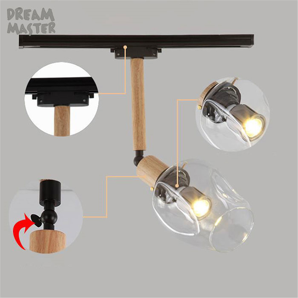 vintage track lighting. Industrial Vintage LOFT Led Spotlights Art Track Lighting Wood Rod Glass Lampshade Leds Ceiling Rail Fixture-in From Lights \u0026 N
