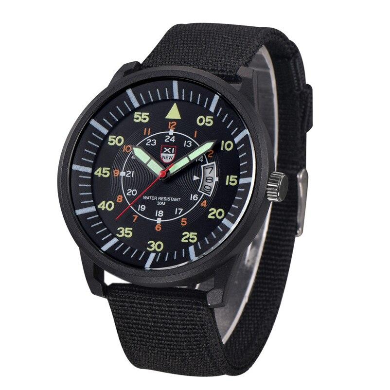 2018 Quartz Watches Mens Military Army Watch Black Dial Date Luxury Sport Waterproof Wrist Watch Hour Gift Relogio Masculino