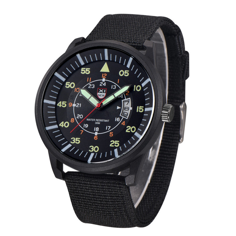 Brand Quartz Watches Mens Military Army Watch Black Dial Date Luxury Sport Waterproof Wrist Watch Hour Gift Relogio Masculino new chenxi brand dial male clock hours hand date black leather straps mens quartz wrist watch 3atm waterproof wristwatches man