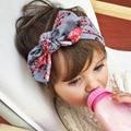Ornamentos del Pelo Del bebé Impreso de algodón fuerza Elástica banda Elástica adornos para el pelo banda de pelo del oído de Conejo Nueva moda simple