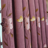 Smell Fresh Lotus Blackout Paste Embroidery Curtain for Living Room Bedroom Wholesale Custom Room Curtain Balcony Curtain Draps