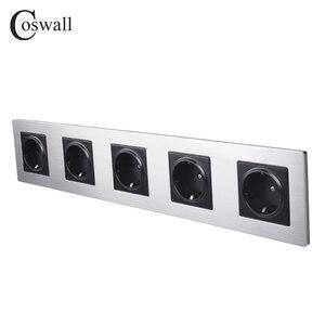 Image 2 - Coswall ステンレス鋼パネル 5 ギャング壁ソケット 16A eu ロシアスペインコンセントシルバーブラックカラーの子保護ドア