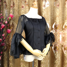 Vintage Women's Lolita Blouse Sheer Flared Sleeve Ruffle Chiffon Blouse plus embroidery ruffle hem semi sheer blouse