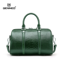 GENMEO Brand New Arrival Serpentine Genuine Leather Handbag with Shoulder Straps Women Cow Tote Bags Feminina Bolsa