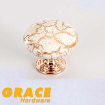European Furniture Ceramic Handle Antique Cabinet Drawer Chest Door Knob  Rose Gold (D:35mm)