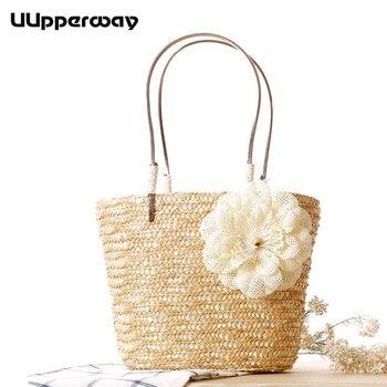 Bolso de paja hecho a mano para mujer, bolso tejido de playa de verano, bolso de mano de cuero PU para mujer, bolso de mano de flores para playa