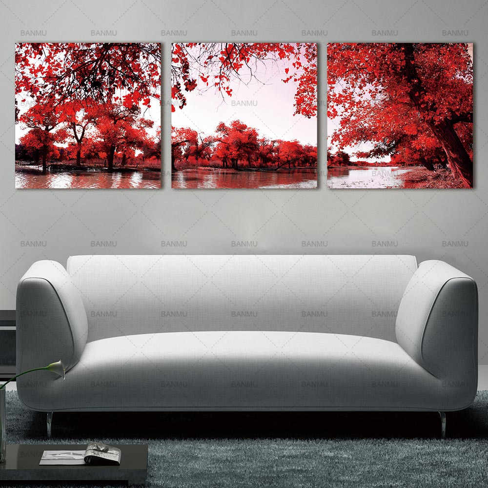 BANMU Canvas painting wall Art Deco Modern Abstract Wall Art Painting on Canvas with Red Trees Flowers Painting Home Decoration