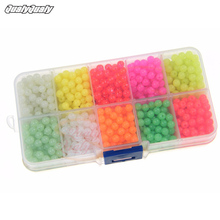 1000 Pcs 4mm Hard Plastic Red Glow Yellow Mix Color Fishing Beads in Box Bulk Set Tool DIY